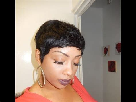 pixie cut hairstyles using bump weave pictures pixie short wig using 27 piece hair youtube
