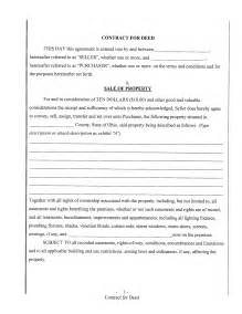 nice sample of blank contract form for deed with sale of