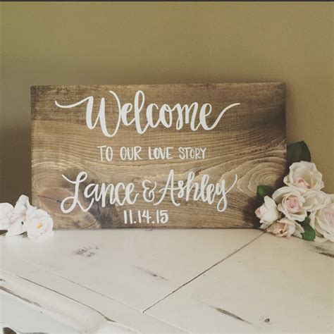 Handmade Wedding Signs - welcome to our story lettered painted