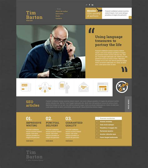 website biography ideas personal page responsive website template 50638