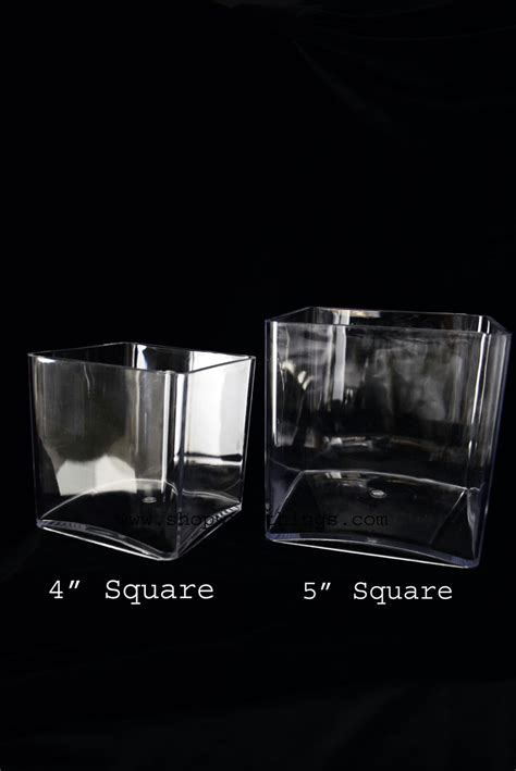 plastic acrylic vases square cube 4 inches supply