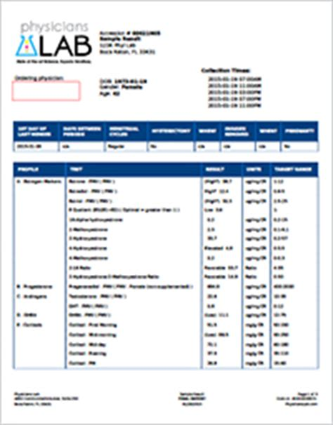 Blood Report Template Sle Results Physicians Lab