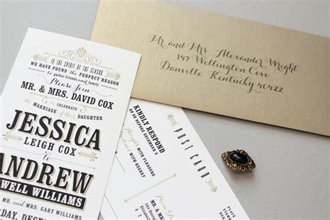 typography wedding invitation andrew s vintage inspired typography wedding