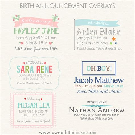 word templates for birth announcements birth announcement overlays digital word overlays word