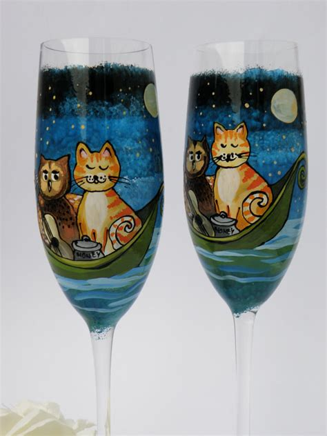 personalized chagne flutes custom chagne glasses hand painted wedding toasting flutes set of 2 personalized