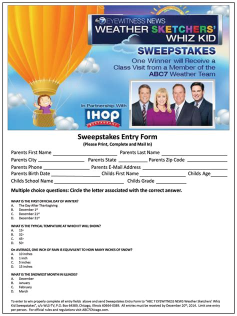 Abc News Sweepstakes - abc 7 eyewitness news weather sketchers whiz kid sweepstakes abc7chicago com