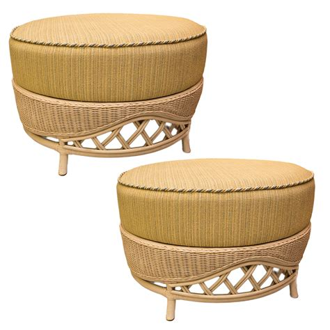 rattan ottoman pair of vintage large rattan round ottomans on antique