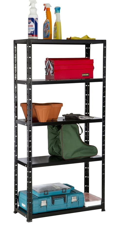 5 tier shelf black boltless metal storage racking shelving