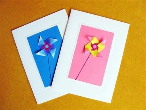 Easy Birthday Origami - greeting cards using an easy origami windmill