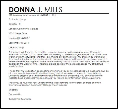 career change resignation letter letter samples