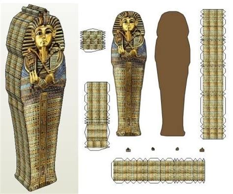the sarcophagus of tutankhamun paper model by j ossorio