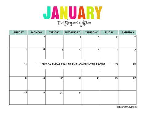 January 2018 Printable Calendar Printable Calendar 2018 In Colors Free To Print