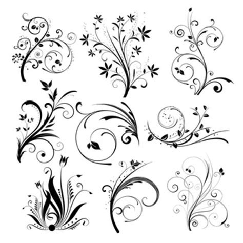 Monochrome Motif Pita floral vectors photos and psd files free