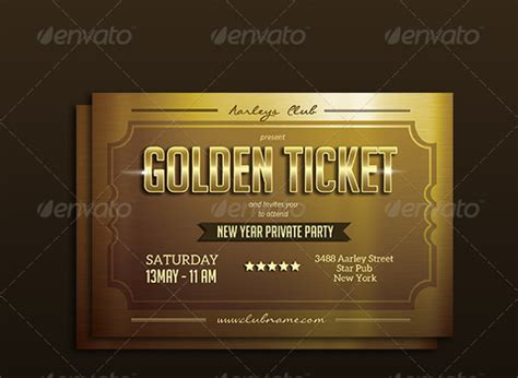 Ticket Invitation Template 54 Free Psd Vector Eps Ai Format Download Free Premium Free Golden Ticket Template Editable