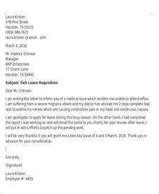 Sick Email Template by Sle Formal Sick Leave Letters 5 Exles In Word Pdf