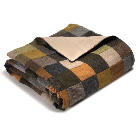 the genuine tweed patchwork throw hammacher schlemmer