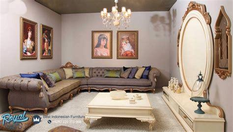 Kursi Tamu Leter L sofa tamu ruang keluarga mewah sudut leter l classic gold klasik jepara terbaru royal