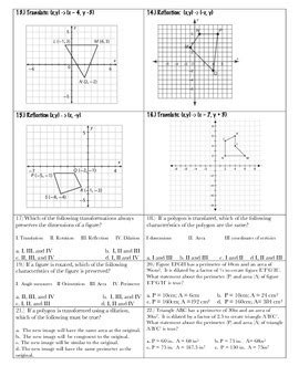 Transformations Practice Packet ~ 8th Grade Math by Math