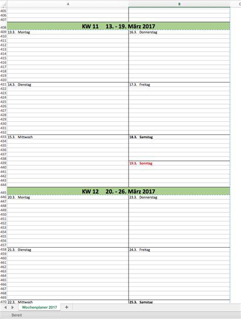 Kalender 2017 Wochen Wochen Kalender 2017 Mit Excel Excel Vorlagen F 252 R Jeden