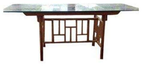 Japanese Kitchen Table Pre Owned Rattan Fretwork Dining Table With Glass Table Top Asian Dining Tables