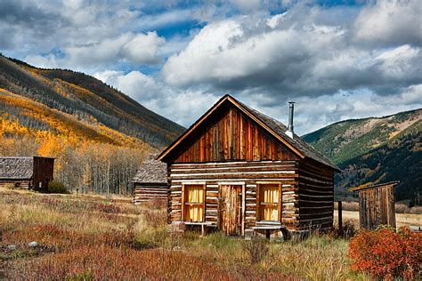 Colorado Log Cabin by Aspens In Fall Color With Clouds A Color Photographic Print For Sale Of A Miner S