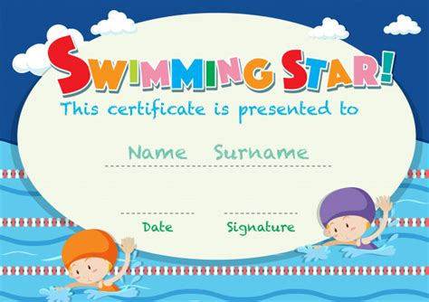 swimming certificates templates certificate template with swimming vector free