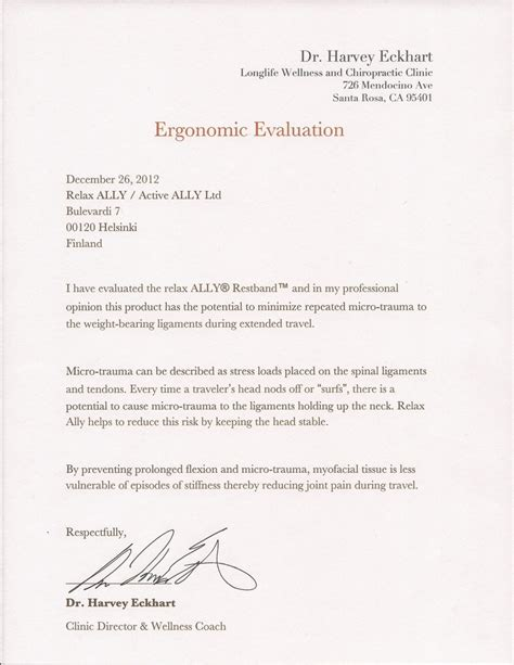 Ergonomic Evaluation Letter Ergonomic Evaluation By Dr Harvey Eckhart