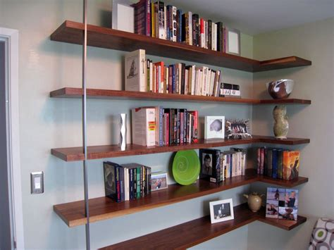 corner wall bookshelves floating mid century modern wall shelves mid century