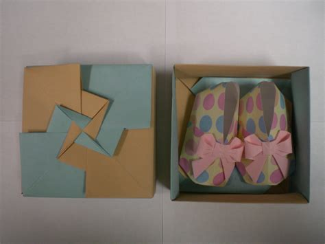 origami baby booties shoes with box