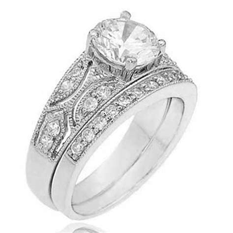 sterling silver 1 25 ct round cubic zirconia antique