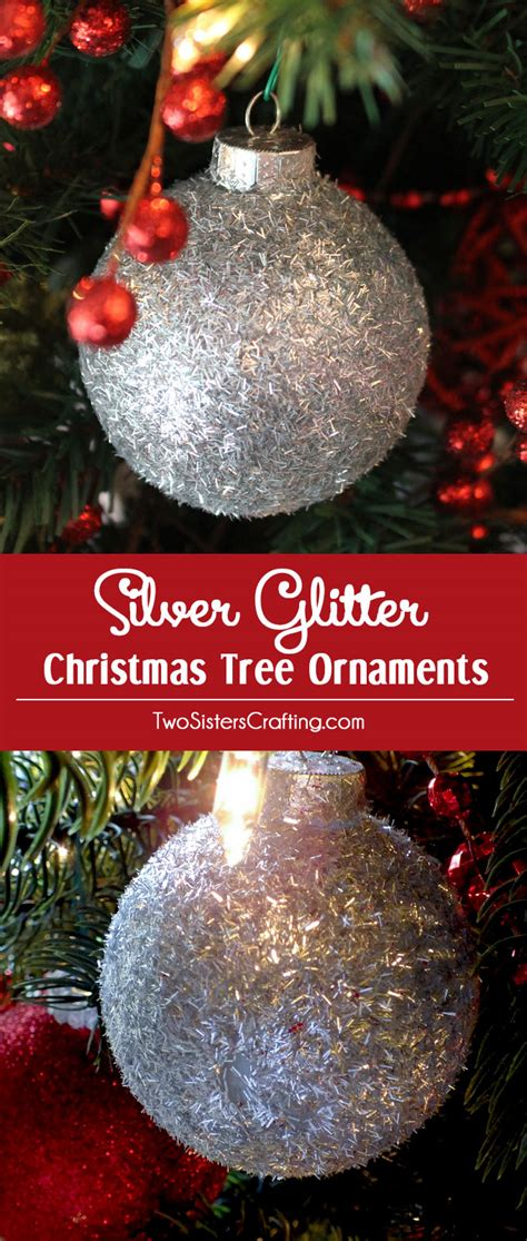 silver glitter christmas tree ornaments two sisters crafting