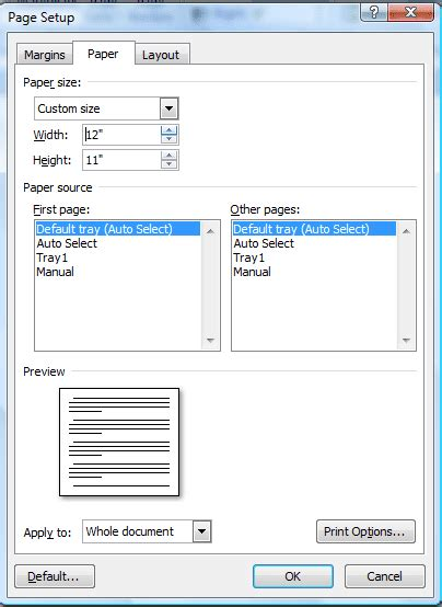 word layout size how to use custom paper sizes with word 2007