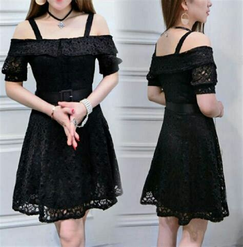Dress Sabrina Hitam model baju mini dress pendek sabrina warna hitam simple