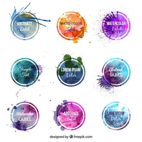 watercolor logo tutorial illustrator colorful watercolor labels vector free download