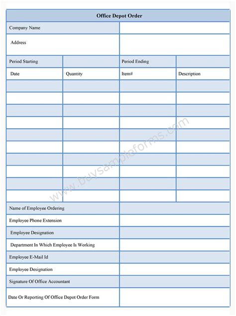 Office Depot Order Form Office Supply Form Template