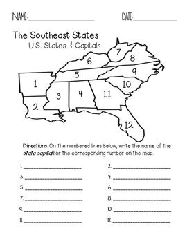 southeast region states and capitals quiz pack by faith