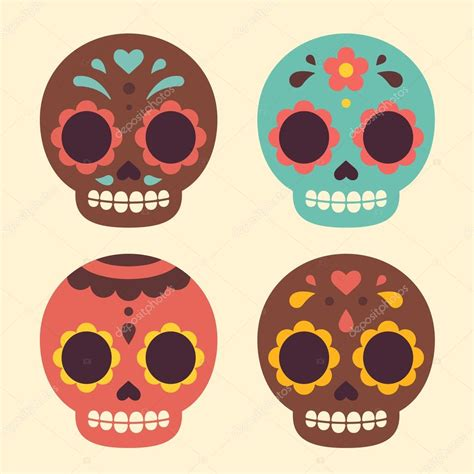 imagenes de calaveras ya coloreadas calaveras de az 250 car mexicanas vector de stock 89217436