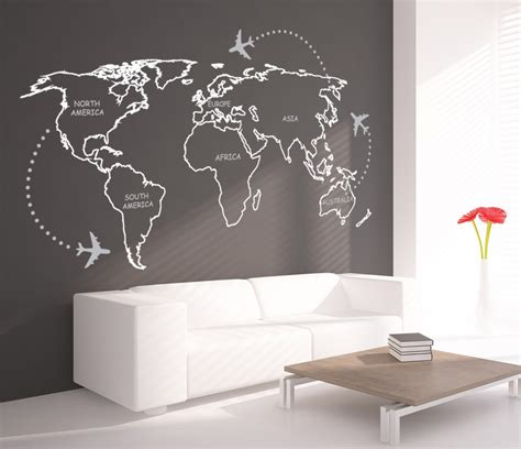 map wall decal world map outlines with continents decal