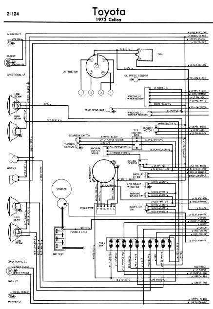 repair-manuals: Toyota Celica A20 1972 Wiring Diagrams