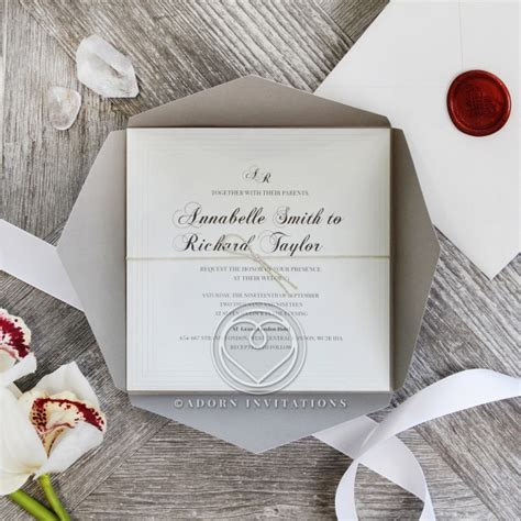 grey and white wedding invitations uk classicly modern grey and silver corner fold invitation