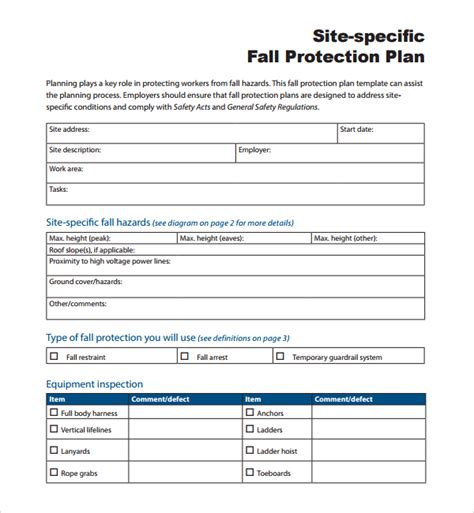site specific safety plan template sle fall protection