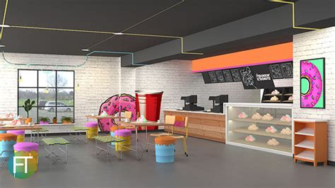 dunkin donut interior concept industrial pop art style  behance