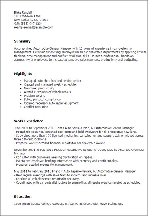 1 Automotive General Manager Resume Templates Try Them Now Myperfectresume Car Dealer Email Templates