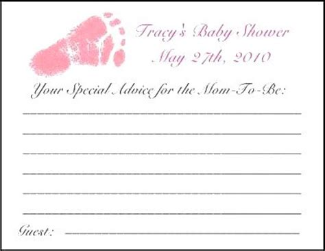free template for baby shower advice cards the gallery for gt free baby shower thank you card template