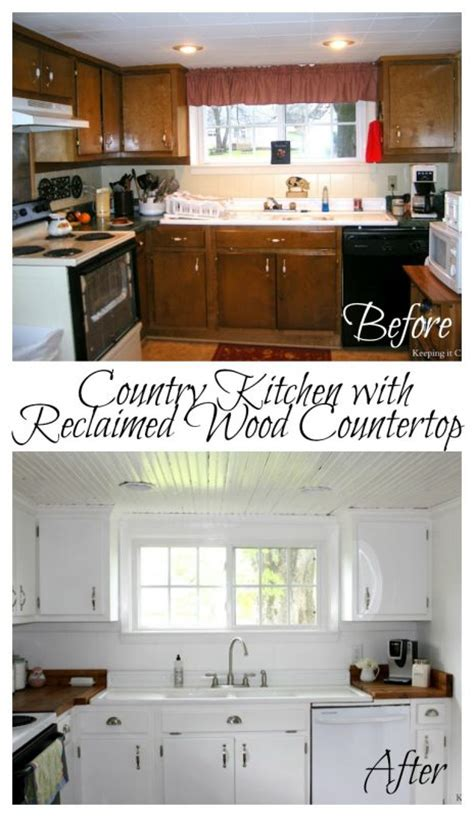 diy wood countertop tutorial remodelaholic country kitchen with diy reclaimed wood countertop