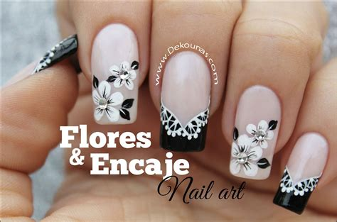 imagenes uñas decoradas en blanco y negro decoraci 243 n de u 241 as flores y encaje facil deko u 209 as