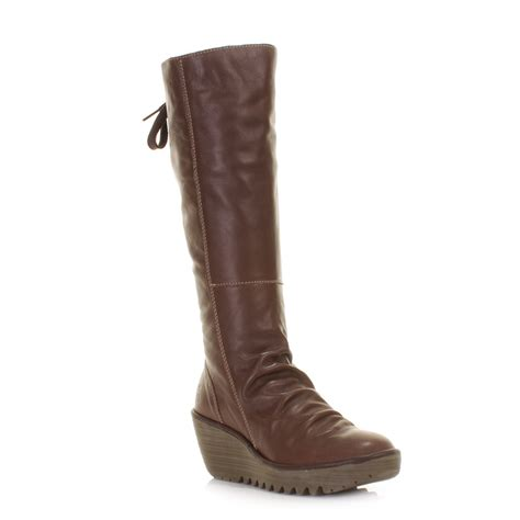 fly knee high boots womens yust brown leather