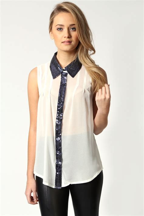 Blouse Next by Next Sequin Blouse Lace Henley Blouse