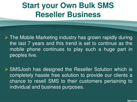 Sms Blast Corporate Presentation - ppt bulk sms reselling business oppurtunity smsjosh