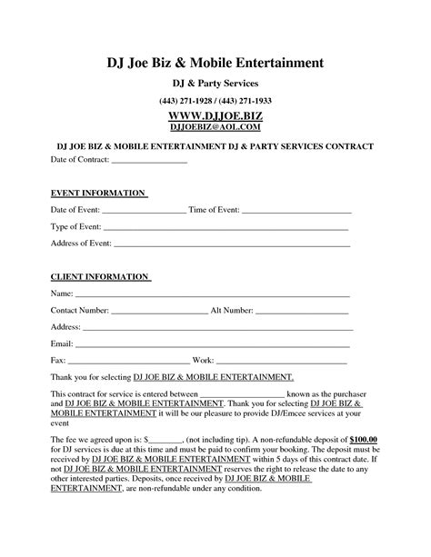 dj contract template invitation templates d j contracts